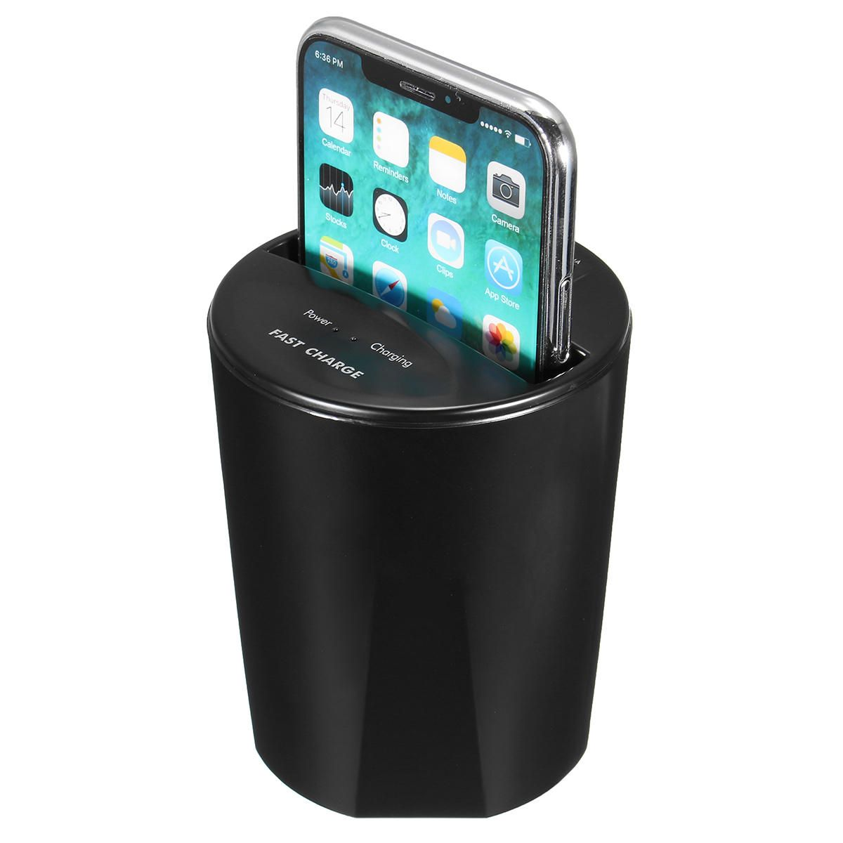 10W Fast Qi Wireless Charger Car Cup Holder USB Output for iPhone X 8 S8