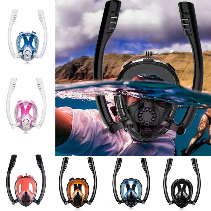 Antifog Double Tube Full Face Snorkel Scuba Diving Mask Swim Breathing Goggles With Camera Mount