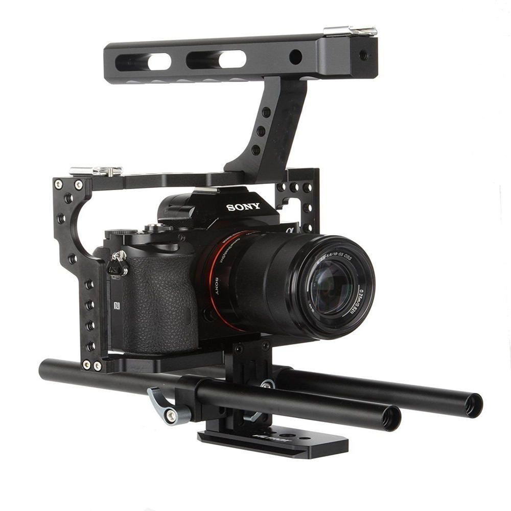 VELEDGE VD 07 Portable Aluminum Camera Cage Rig Stabilizer Top Handle Grip for DSLR Camera DV for Sony A7 A7r A7s II A6300 A6000 for Panasonic GH4