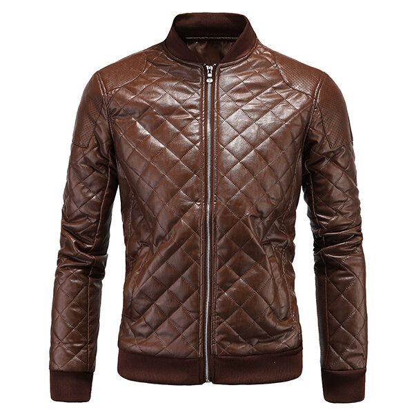 Mens Biker PU Diamond shaped Lattice Leather Breathable Thick Coat Baseball Collar Jacket
