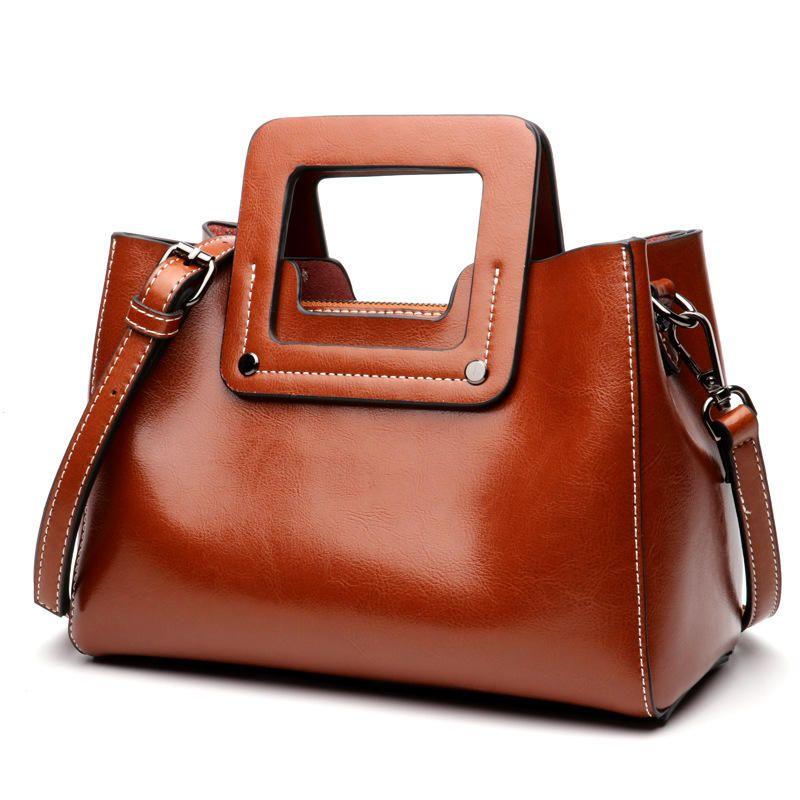 JWV US$76.98 Genuine Leather Women Waterproof Messenger Bags Casual Handbag with Shoulder Strap