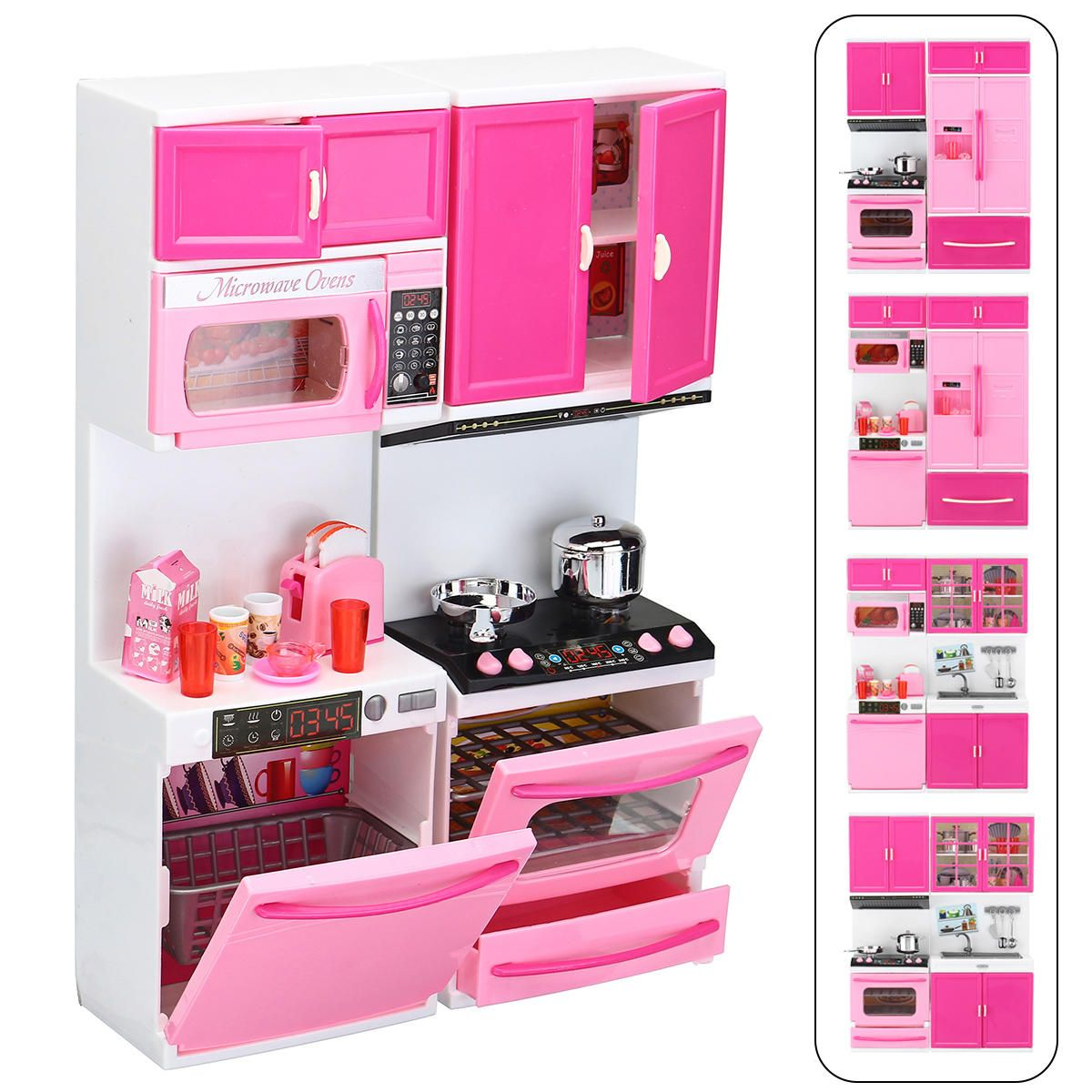 Large Girl Kid Wooden Play Kitchen Playset Children's Role Play Pretend Set Toys