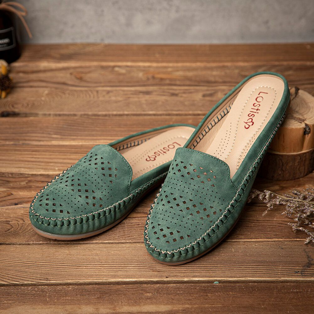 LOSTISY Women Hollow Out Breathable Casual Comfy Backless Flats Sandals