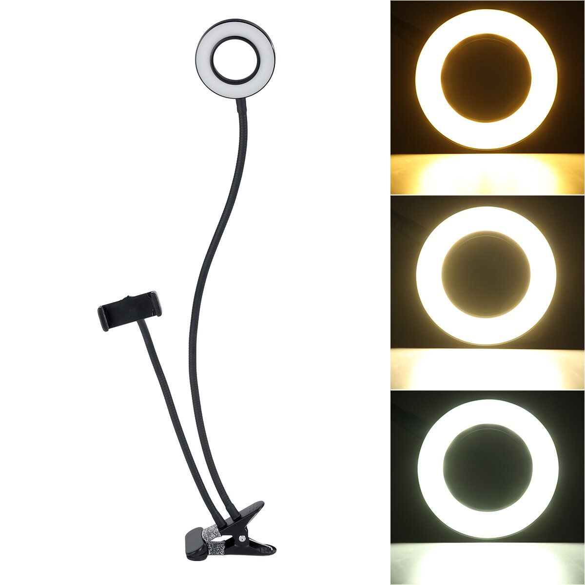 BG12W 2 in 1 Flexible Controllable USB Interface 9cm 12W LED Selfie Ring Light + Desktop Phone Holder Clip Photography YouTube Video Makeup Live Stream with Remote Shutter for Smart Phone between 5.8 8.5cm Width