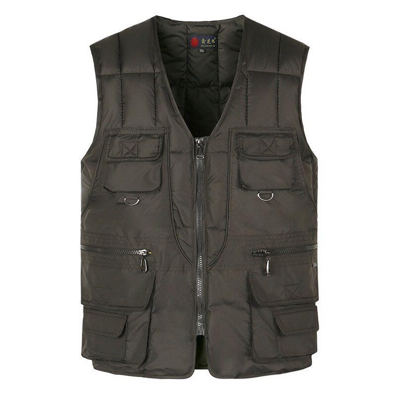 Mens Casual Loose Fit V Neck Multi Pockets Vest
