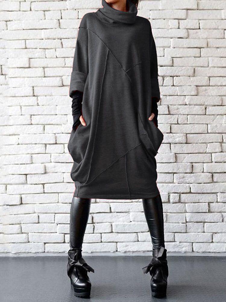 Women Solid color Turtleneck Neck Patchwork Casual Dress