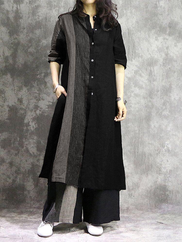 Women Cotton Contrast Color Stripe Patchwork Split Design Long Shirts