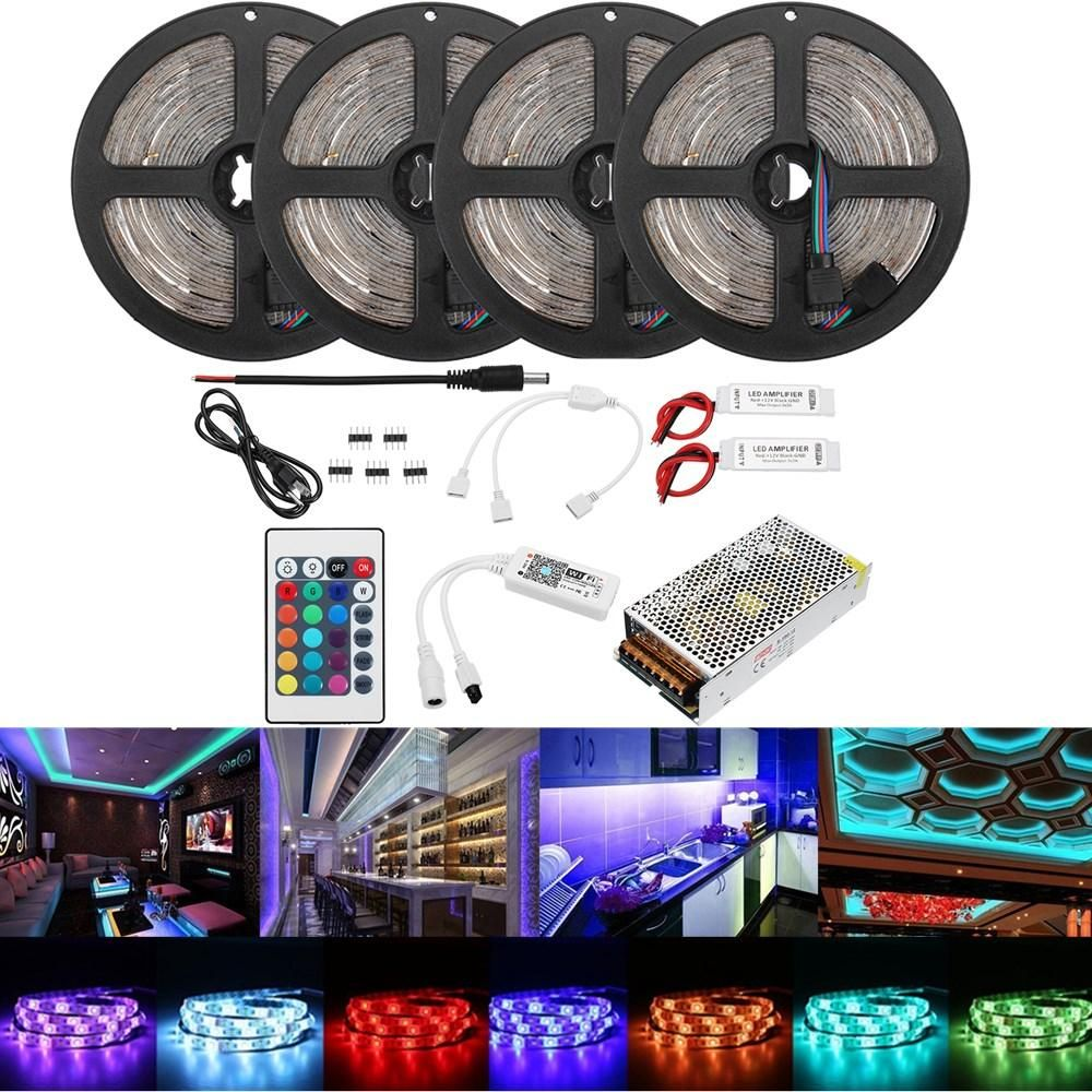 20M 2835 RGB Flexible Waterproof LED Strip Light Kit Alexa Smart Home Wifi Control APP AC110 240V