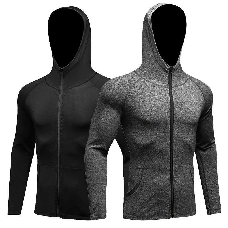 Men Fitness Running Training Sports Jacket Long sleeved Zipper Casual Hoodie Quick drying Coat