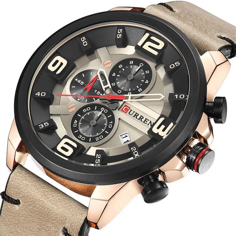 CURREN 8288 Chronograph Calendar Quartz Wrist Watch Leather Strap Waterproof Men Watch