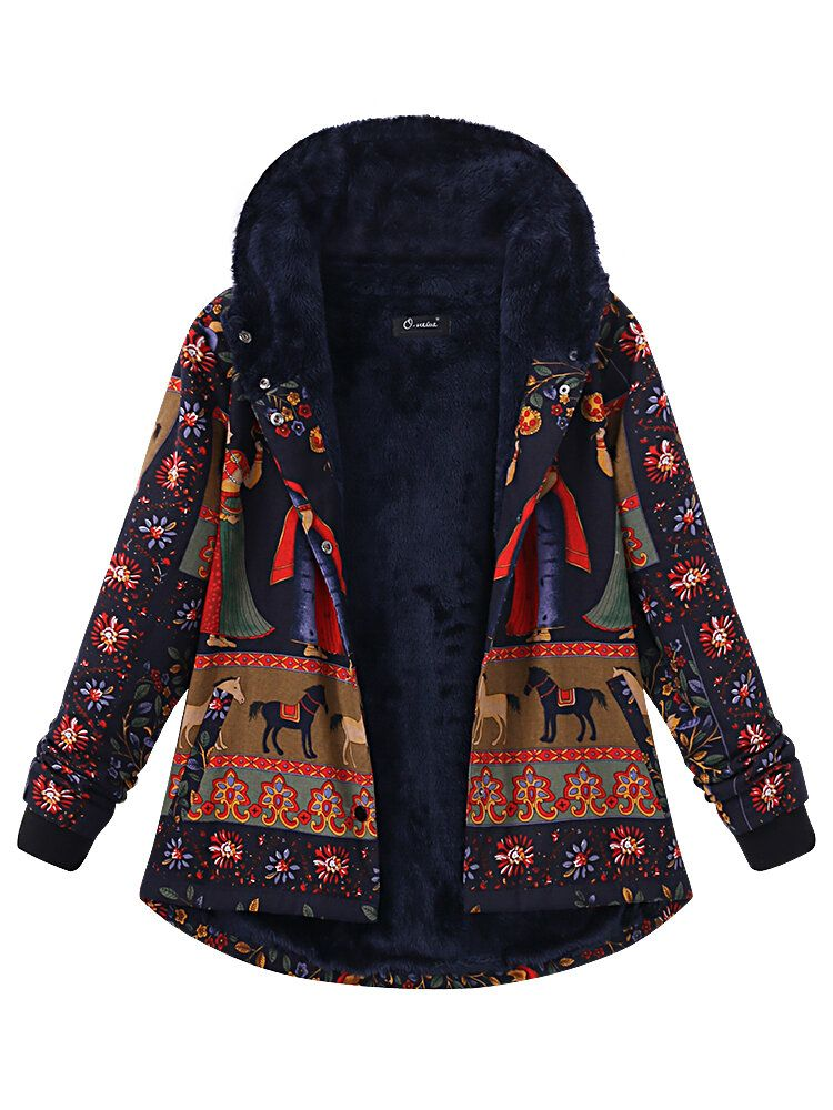 Plus Size Women Printing Hood Thick Warm Coats