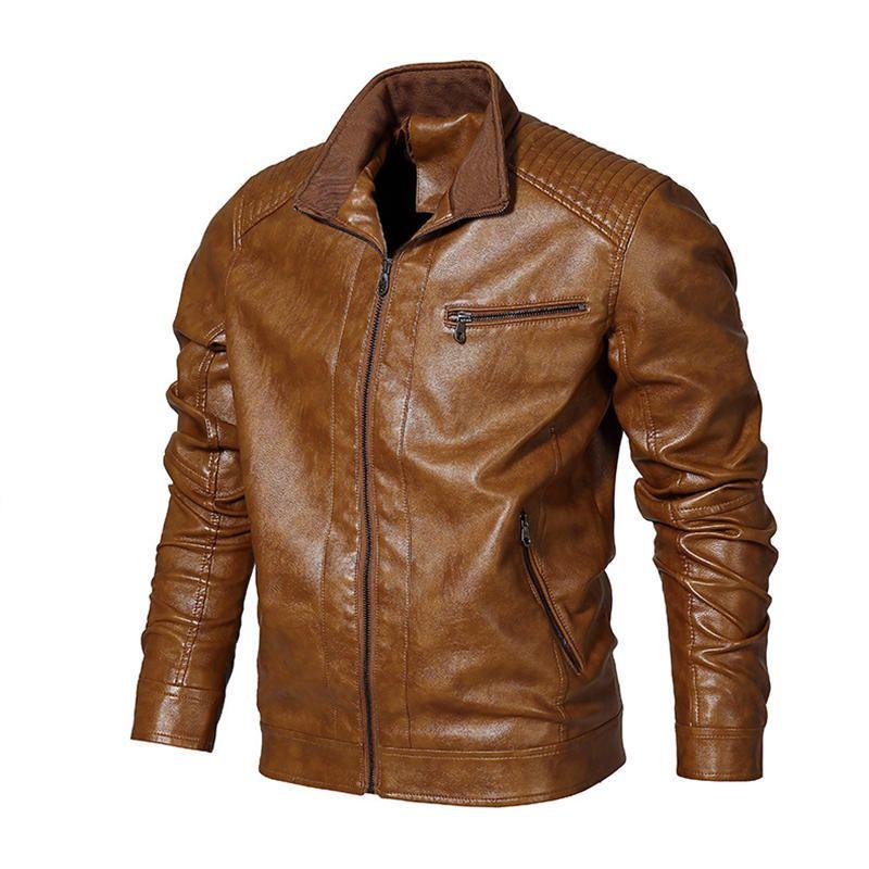 Mens PU Faux Leather Motorcycle Biker Jacket