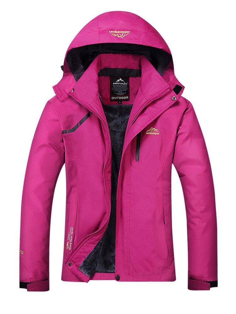 Outdoor Women Casual Thicken Waterproof Windproof Fleece Mountaineer Sport Jackets