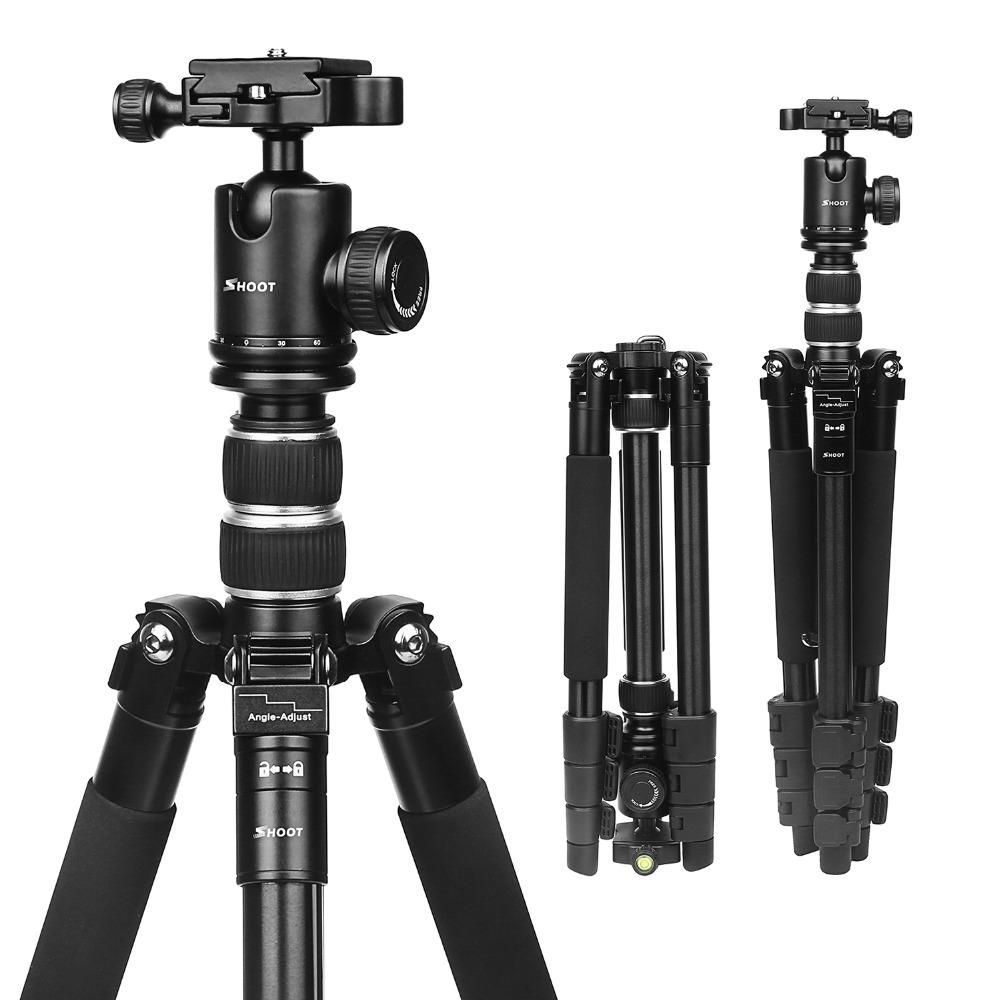 SHOOT XTGP438 Aluminum Alloy 4 Sections Camera Tripod for Canon for Nikon DSLR Stand With Ball Head 10kg Max Load 1.4m Max Height