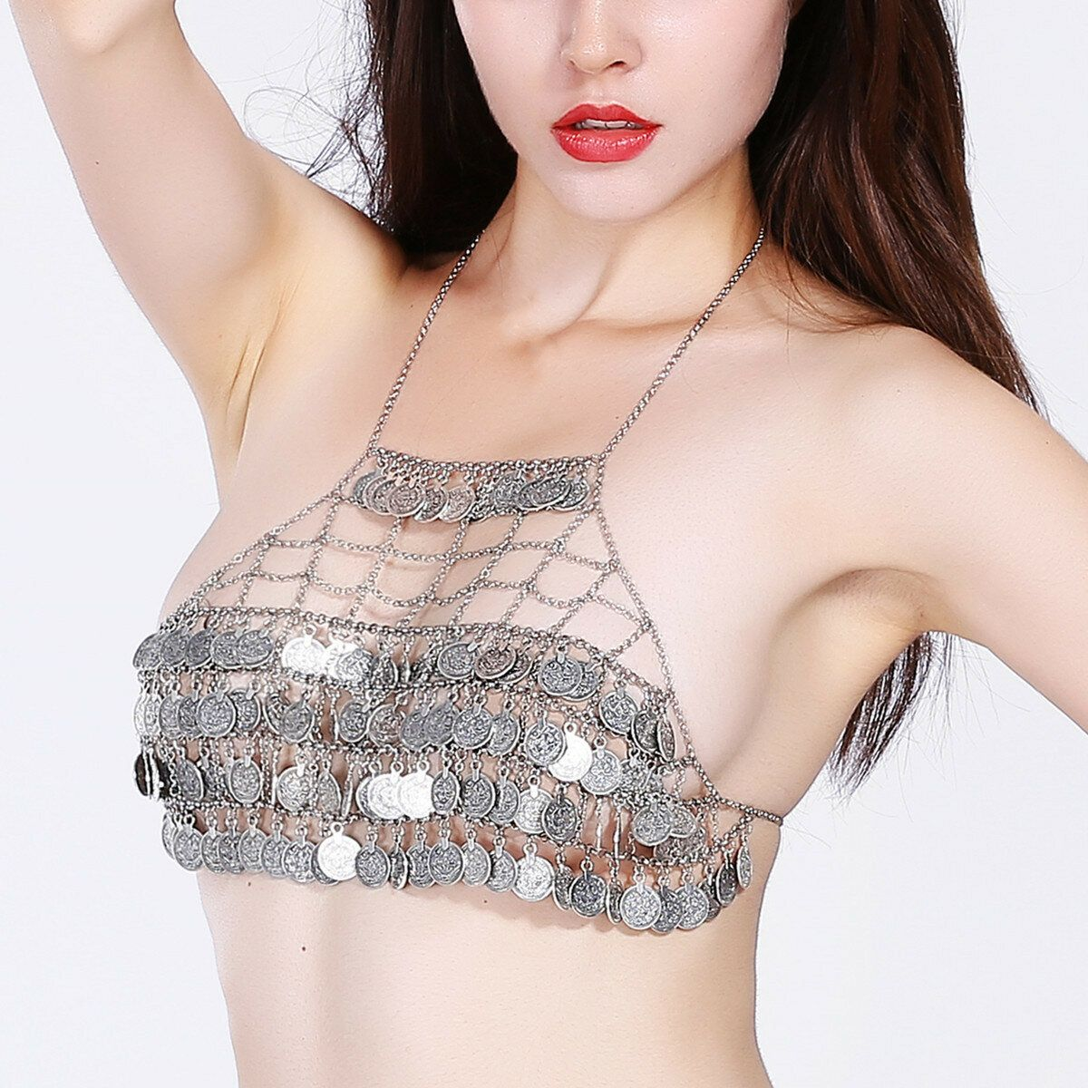 BND US$32.39 Sexy Hollow Multilayer Coin Tassel Beach Free Bra Body Chain