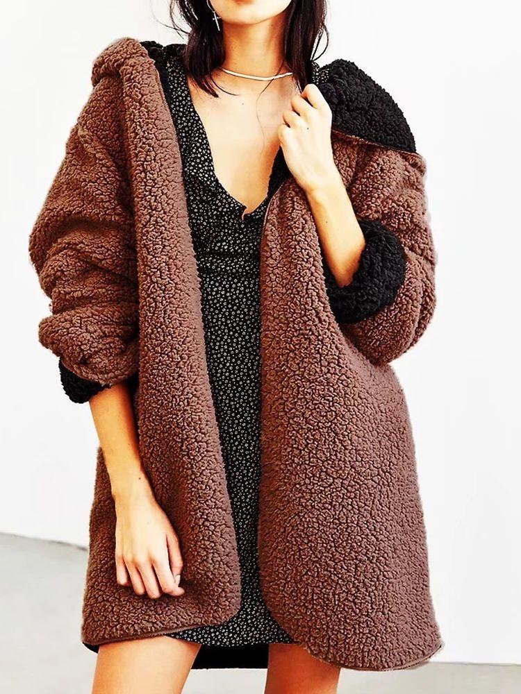 Women Casual Fleece Warm Winter Hooded Two Face Coats