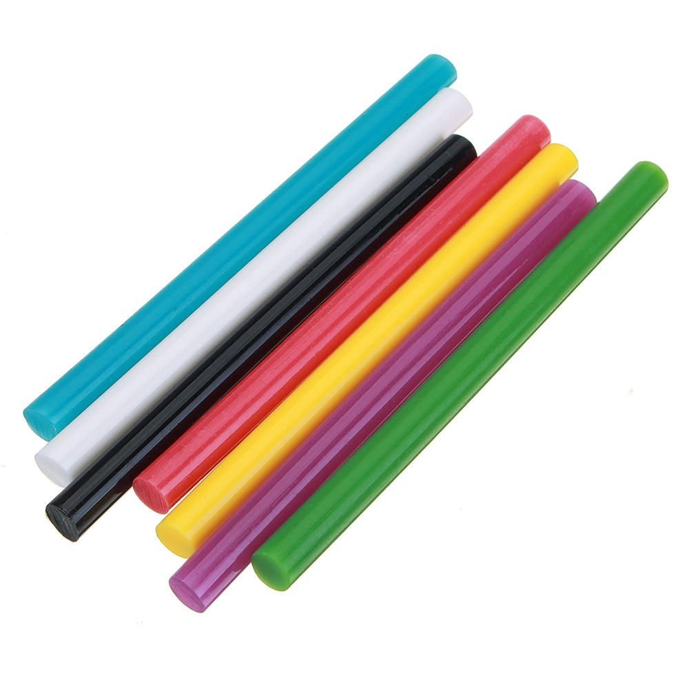HXD US$3.39 10Pcs 7mmx100mm Colorful Hot Melt Glue Stick Colorant DIY Crafts Repair Model Adhesive Sticks