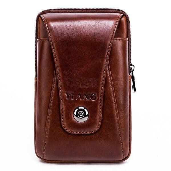 Men Genuine Leather Vintage Waist Bag