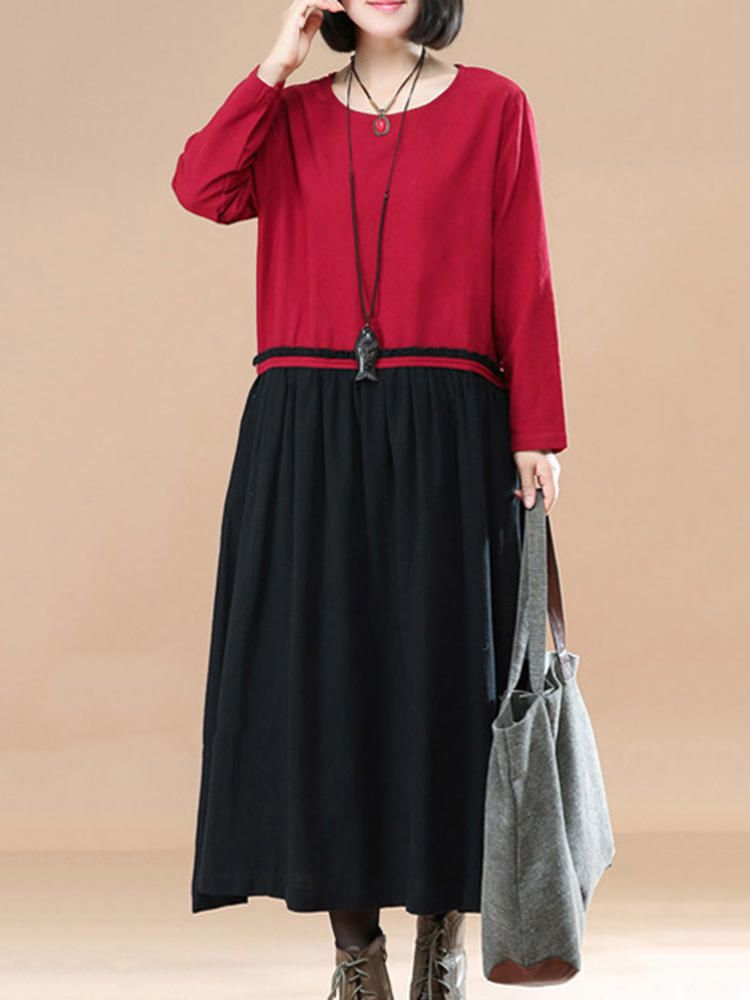 O NEWE M 5XL Casual Women Color Block Solid Stitching Long Maxi Dress