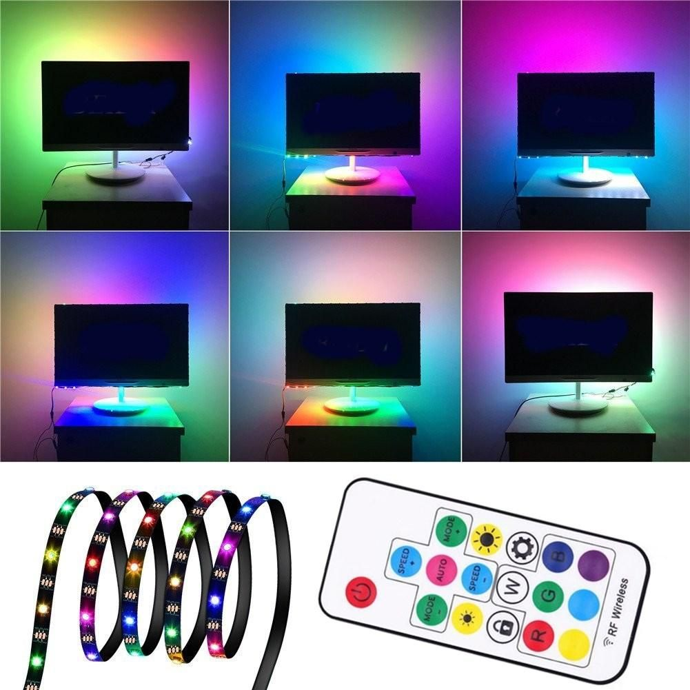 1M 2M 3M WS2812 SMD5050 Black PCB Non waterproof USB LED Strip Light+17 Keys Remote Control DC5V