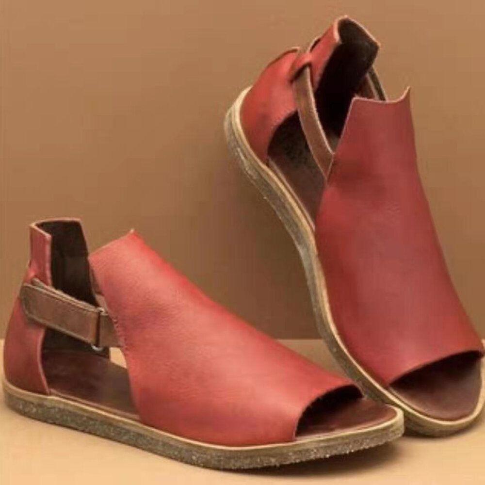 Women Plus Size Roman Hook Loop Open Toe Casual Flat Sandals