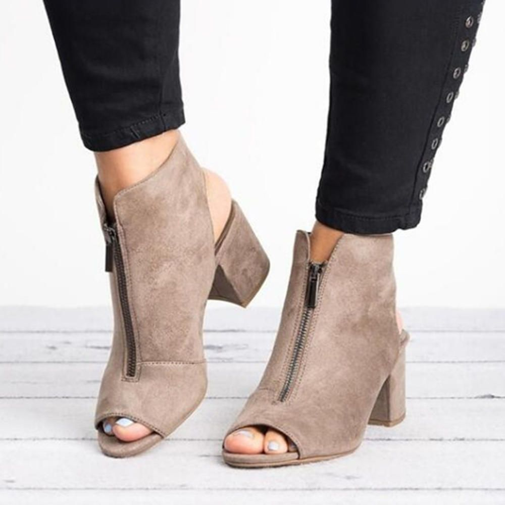 Peep Toe Ankle Boots Front Zipper Chunky Heel Sandals Pumps