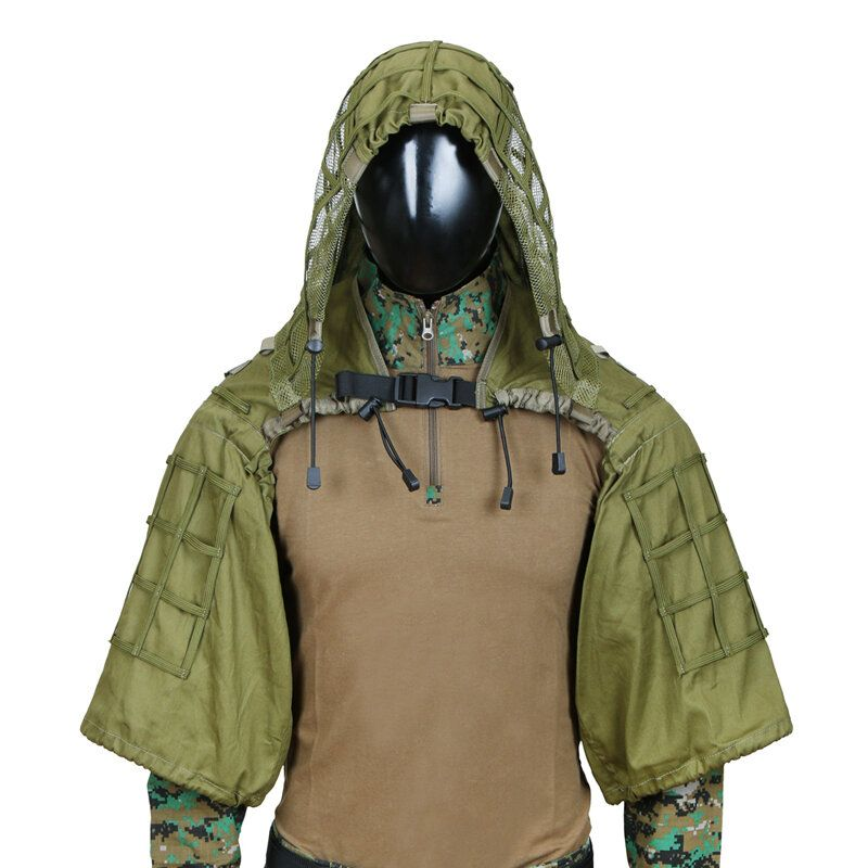 TTGTACTICAL GH28 Military Sniper Ghillie Suit Outdoor Hunting Tactical Airsoft Sniper Camouflage Hood Jacket