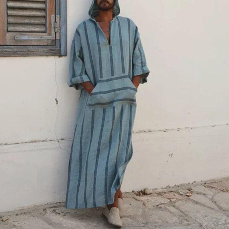 INCERUN Stripe Front Pocket Hooded Long Dress Tops for Men