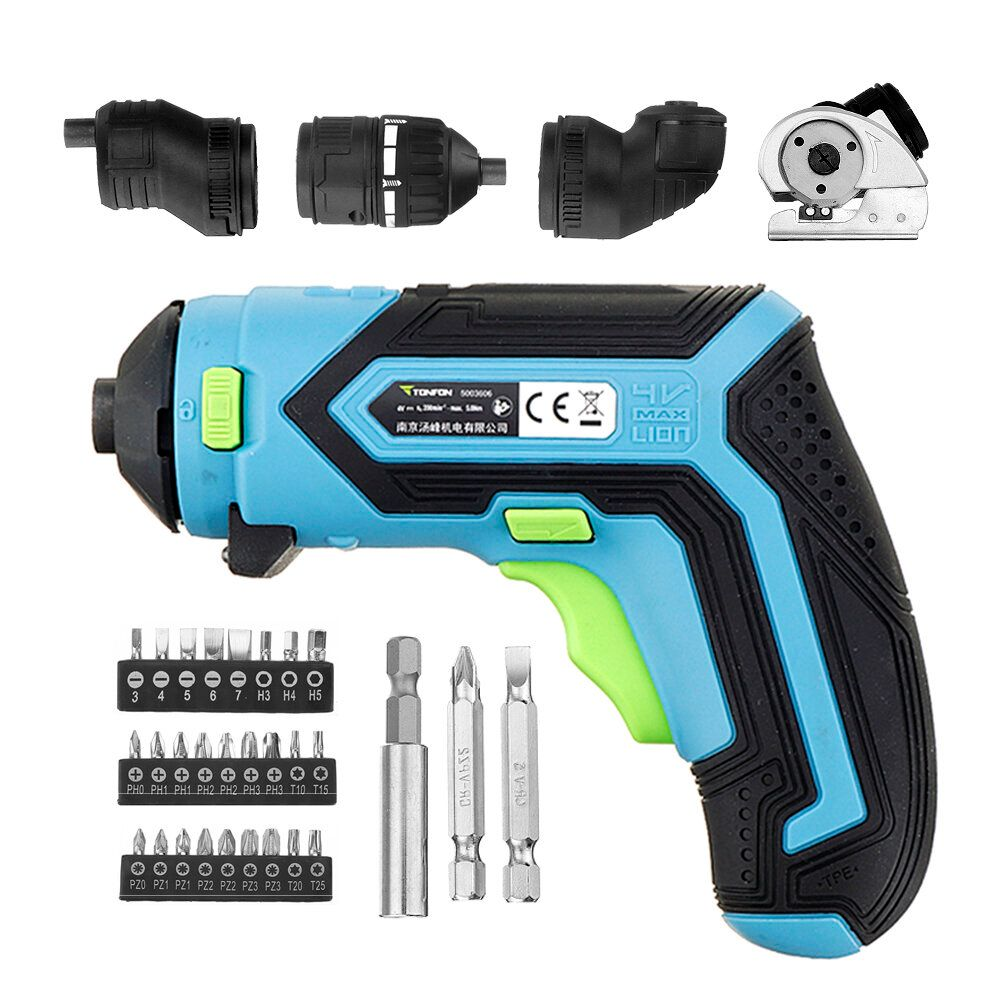 LBA US$39.68 Tonfon 4 In 1 Multifunction 3.6V Lithium Mini Cordless Electric Screwdriver Electric Cutter Offset Angle Right Angle Adapter Kit