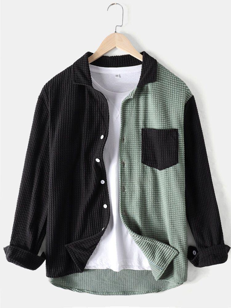 Banggood Design Mens Colorblock Patchwork Corduroy Lapel Long Sleeve Shirts