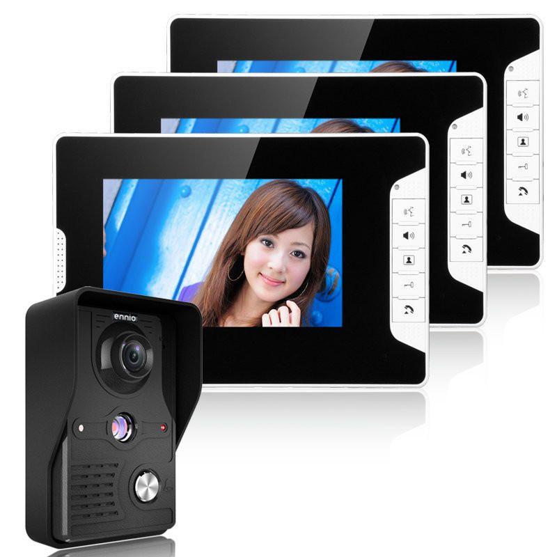 ENNIO SY813MK13 7inch TFT LCD Video Door Phone Doorbell Intercom Kit 1 Camera 3 Monitors Night Vision