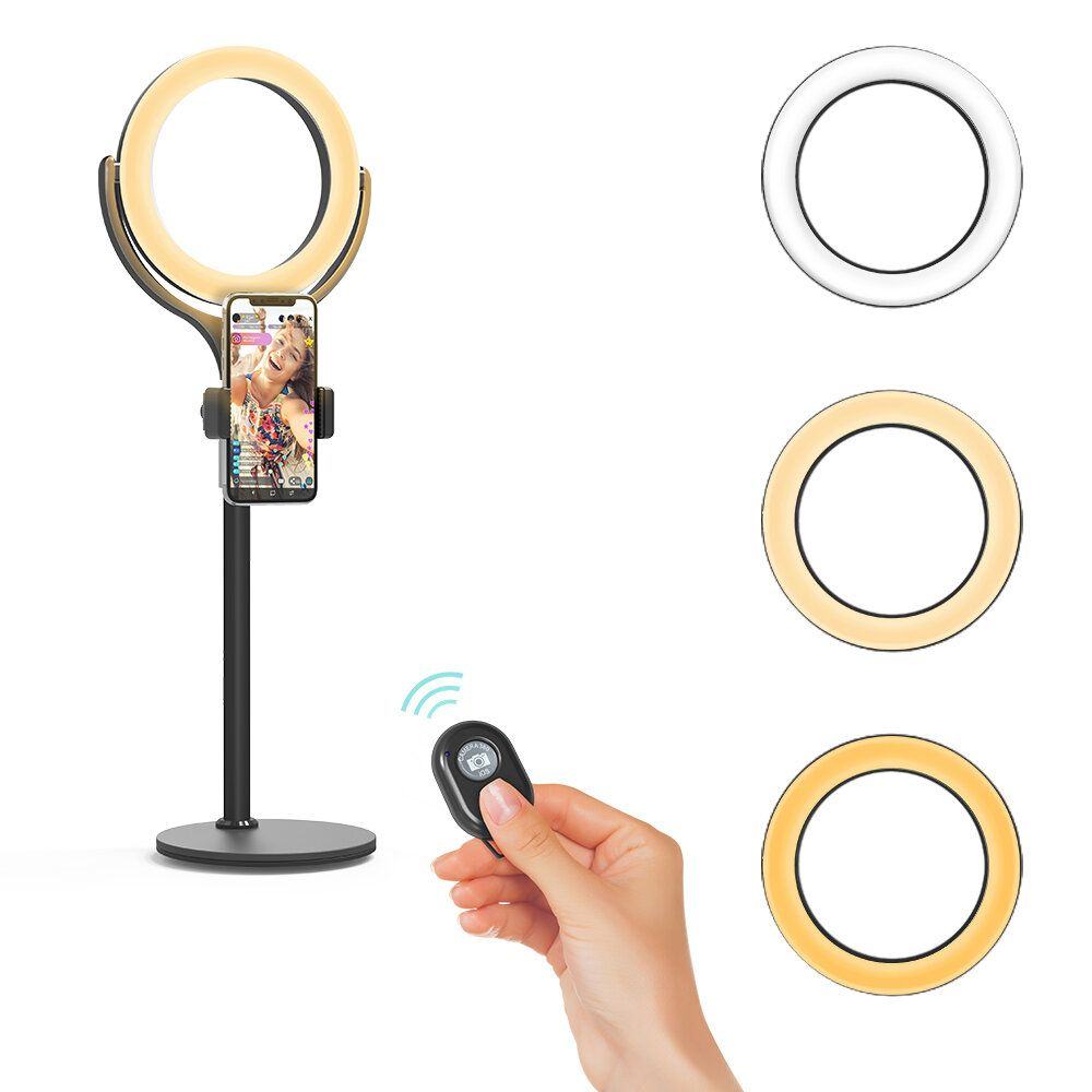 BlitzWolf® BW SL4 Dimmable Ring Light Night Light Desktop Selfie Phone Holder bluetooth Remote for Live Vlog YouTube TikTok Makeup