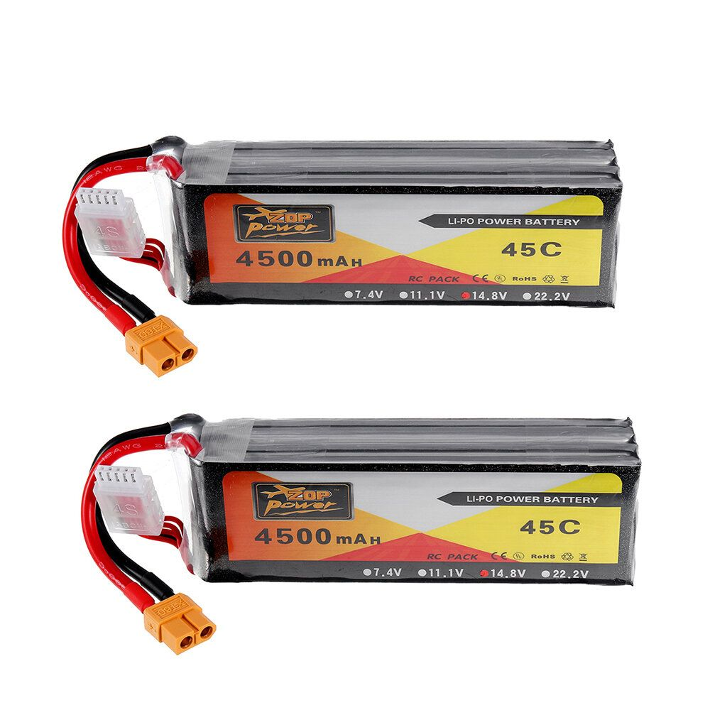 2Pcs ZOP Power 14.8V 4500mAh 4S 45C Lipo Battery XT60 Plug For RC Car Boat Quadcopter