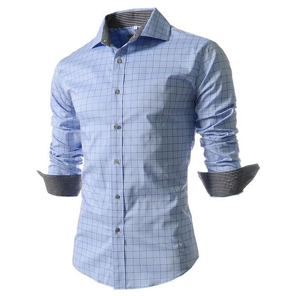 Mens Fashion Plaid Long sleeved Lapel Checkered Shirt
