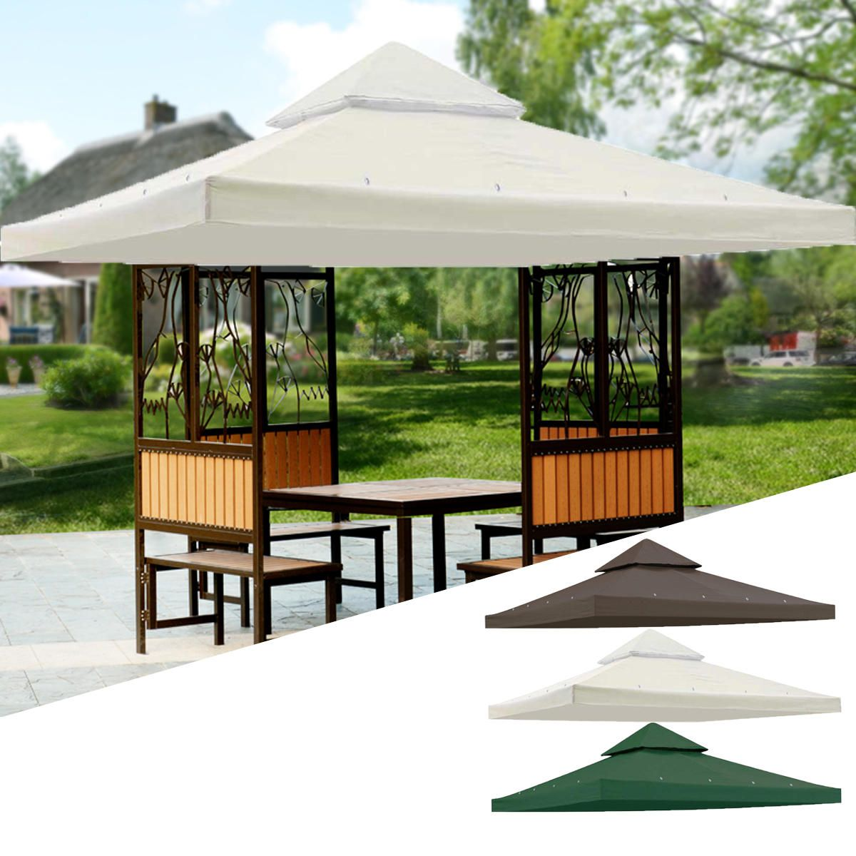 120x120inch Garden Pavilion Terrace Top Canopy Cover Garden Shade Gazebo Patio Tent Sunshade Accessories Replacement