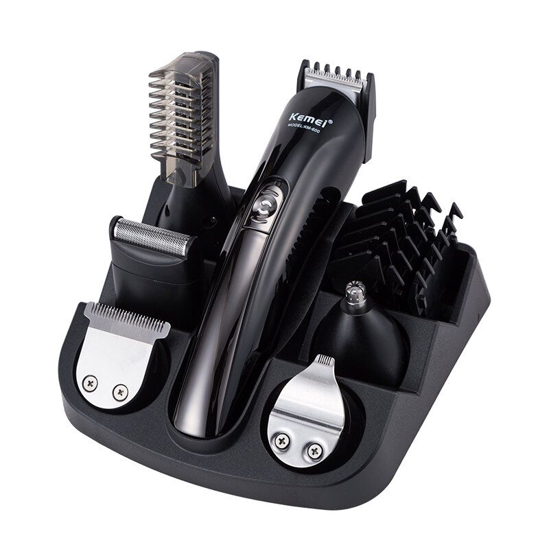 Kemei KM 600 6 in 1 Electric Hair Clipper Shaving Machine Beard Trimmer Cut Hair Trimmer Ear Nose and Facial Cleaning Tools
