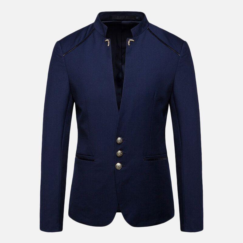 Mens Stylish Stand Collar Slim Suit Jacket Blazers
