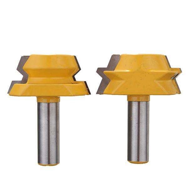2pcs 1/2 Inch Shank 22.5 Degree Lock Miter Router Bits Set Lock Miter Woodworking Cutters