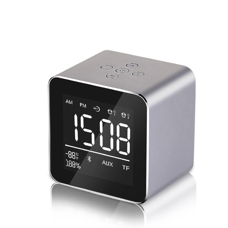 YAyusi V9 Mini Wireless bluetooth Speaker LED Mirror Alarm Clock FM Radio Stereo Bass Speaker