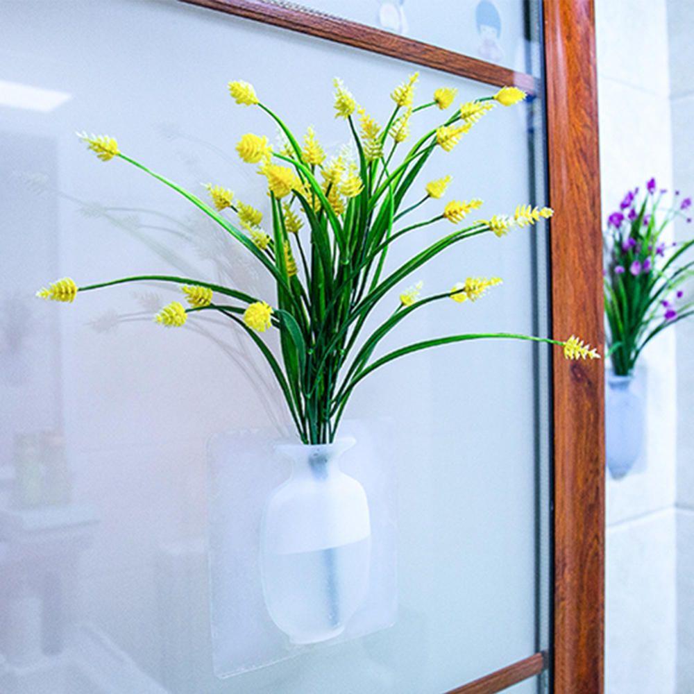 Silicone Wall Hanging Vase Bottle Flower Vase for Plant Flower Home Living Room Window Decoration