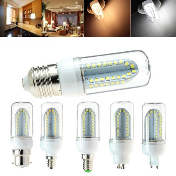 JPP US$3.99 E27 B22 E14 E12 G9 GU10 5W 500LM SMD2835 84LEDs Warm White Pure White Corn Light Bulb AC85-265V
