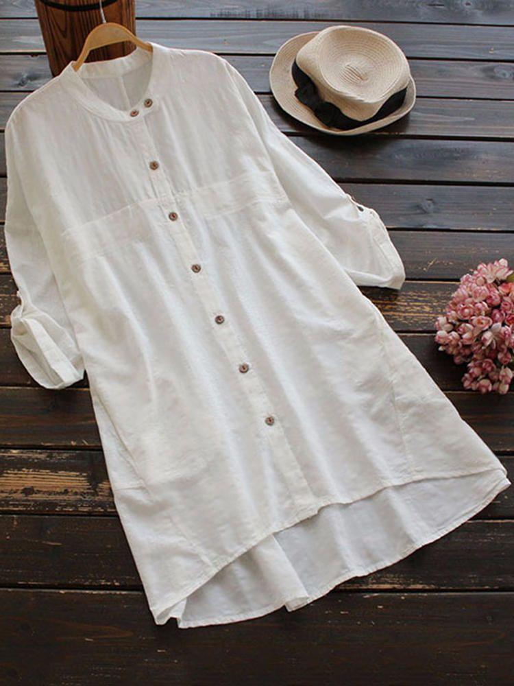 Women Vintage Adjustable Sleeve Buttons Blouse