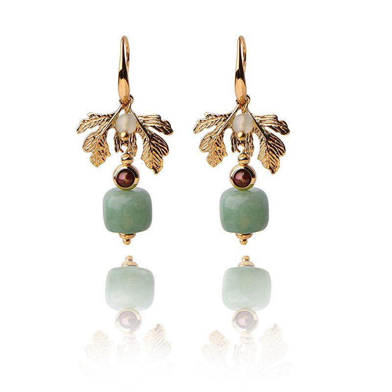 Ethnic Jewelry Vintage Handmade Earrings Luxury Gold Leaf Jade Charm Dangle Earring for Women