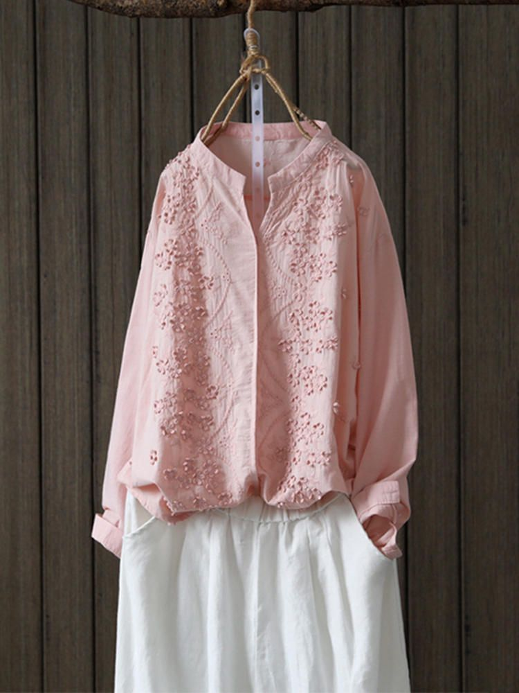 Women Retro Long Sleeve V Neck Floral Embroidery Blouse