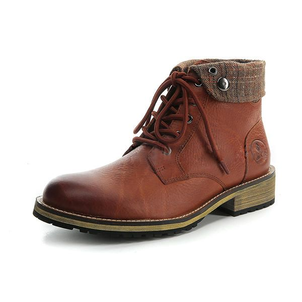 Brown Casual Leather Boots Short Boots Shoes Winter Warm Motorcycle Riding 39 45 For