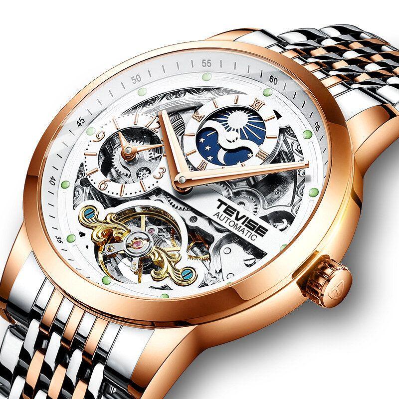 TEVISE T874 Full Steel Waterproof Automatic Mechanical Watch Moon Phase Calendar Men Watch
