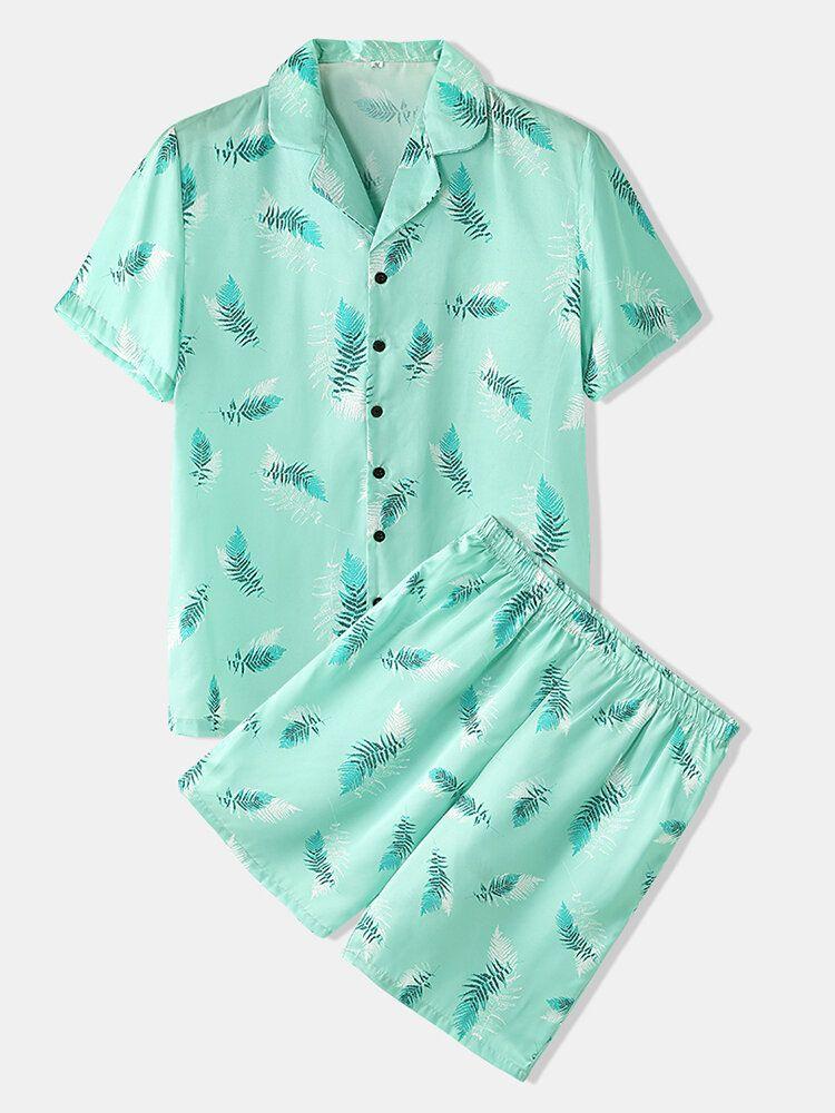 Mens Leaves Print Sleepwear Revere Collar Short Sleeve Home Pajama Set