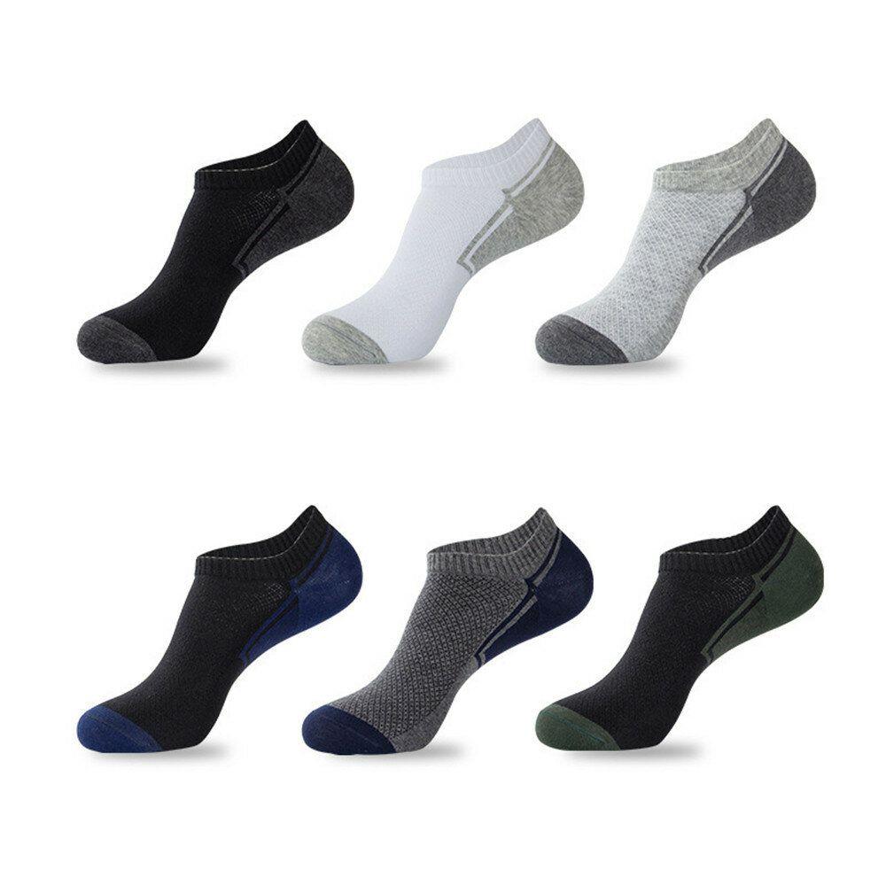 6 Pairs Set Men Cotton Sports Short Tube Socks