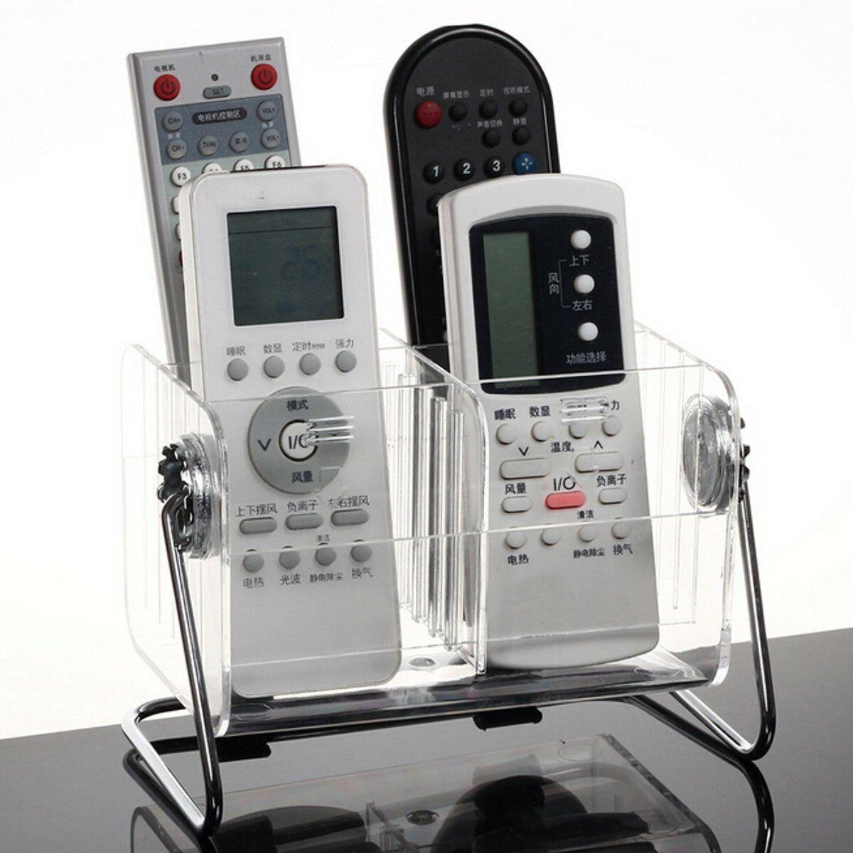 Desktop Clear TV Remote Control Mobile Phone Organizer Storage Box Stand Holder Transparent Case