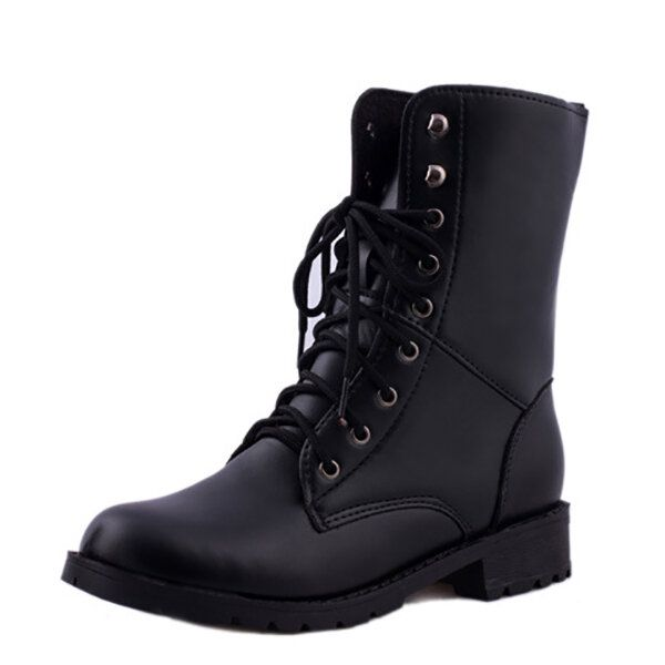 US Size 5 10 Lace Up Casual Fashion Outdooors Women Mid Calf Boots
